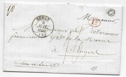 """1844 - ARDENNES - LETTRE De DOUZY BOITE RURALE """"O"""" + T13 De SEDAN => ANGERS - Marcophilie (Lettres)"""