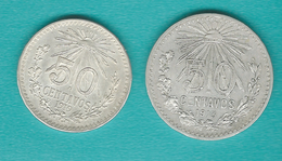 Mexico - 50 Centavos - 1913 (KM445) & 1919 (KM446) - Mexique