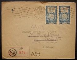 1947 Paris 42 Lettre Recommandée Timbres UNESCO 1946, Société Aéro Radio - Marcophilie (Lettres)