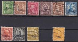 """USA 1929, Freimarken Mit Überdruck """"Kans."""", Serie (ohne Wert 9 C.), Gestempelt - Etats-Unis"""