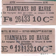Titre Transport Le HAVRE 76 Ticket Tramway Hôtel Ville + HEVE JETEE 2  Tickets Non Métro - Tramways
