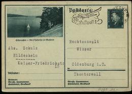 S5693 - DR GS Postkarte Mit Bild Ostpreussen Niedersee Masuren: Gebraucht Hildesheim - Oldenburg 1931 , Bedarfserhaltu - Deutschland