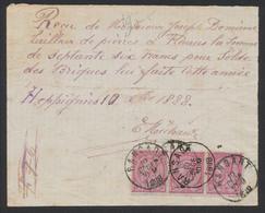 "émission 1884 - N°46x3 Sur Reçu + Obl Simple Cercle ""Ransart"" (Manuscrit Heppignies) Vers Fleurus - 1884-1891 Léopold II"