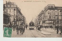 CPA  - MARSEILLE - LA CANNEBIERE - I.C. - 9 - ANIMÉE - VOITURE A CHEVAUX - GD BAZAR FIGARO - TRAM - - Canebière, Centre Ville
