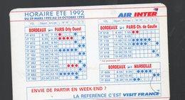 (aviation) Horaire été 1992 AIR INTER (PPP16622) - Europe