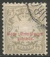 Bavaria - 1876 Arms Postage Due 5pf Used    SG D103 - Bavaria