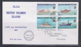 British Solomon Islands 1975 Ships And Navigators FDC - Ships