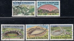ST. THOMAS & PRINCE ISLAND - Scott #567@571 Olympic Games Installations / Complete Set Of 5 Used Stamps - Olympic Games