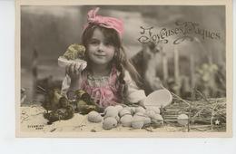 """ENFANTS - LITTLE GIRL - MAEDCHEN - Jolie Carte Fantaisie Fillette Avec Poussin Canetons Oeufs De """"Joyeuses Pâques """" - Ostern"""