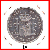 ESPAÑA MONEDA DE (( ALFONSO XIII PLATA )) 5 PESETAS( DURO EL PELON ) AÑO 1890 M-PM - Primeras Acuñaciones