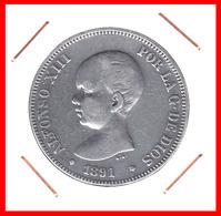 ESPAÑA MONEDA DE (( ALFONSO XIII PLATA )) 5 PESETAS( DURO EL PELON ) AÑO 1891 M-PM - Primeras Acuñaciones