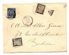 France - Type Sage Sur Lettre Taxée (Taxe N°16 Et 18) + Griffe T Dans Un Triangle - (B2012) - Marcophilie (Lettres)