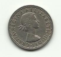 1957 - Gran Bretagna 6 Pence - 1902-1971 : Monete Post-Vittoriane