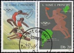 ST. THOMAS And PRINCE ISLAND - Scott #805a-b Sports Institute, 10th Anniv. / Used Stamp - St. Thomas & Prince