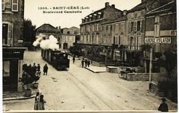 4103  -  Lot -  SAINT CERE  : Le TRAMWAY , Boulevard Gambetta Et L'Auberge Vve LAFON à Droite - Saint-Céré