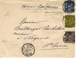 1887-DEVANT De Lettre  CHARGE V D 200 F  Affr. à 60 C. De HORTES ( Haute Marne ) - 1877-1920: Semi-moderne Periode