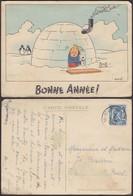 """Belgique - CP - Tintin 1944 """" Bonne Année """" Pli Dans Le Coin Inférieur Droit (DD) DC1286 - Bandes Dessinées"""