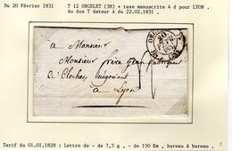 Jura : T 12 ORGELET + Taxe Manuscrite 4 D Sur LAC En 1831 - 1801-1848: Précurseurs XIX