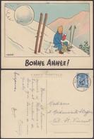 """Belgique - CP - Tintin 1944 """" Bonne Année """" Infime Trou D'épingle Au Milieu En Haut (DD) DC1287 - Bandes Dessinées"""