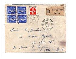 AFFRANCHISSEMENT COMPOSE SUR LETTRE RECOMMANDEE DE LE BOUSQUET D'ORB HERAULT 1959 - Marcophilie (Lettres)