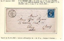 Jura ; T 15 ORGELET + GC 2735  Sur Yt N° 22 Sur LAC En 1863 - 1849-1876: Classic Period