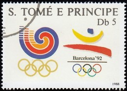 ST. THOMAS & PRINCE ISLAND - Scott #837 Seoul And Barcelona Olympic Games / Used Stamp - Olympic Games