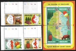 Swaziland 1977 Scott 289-293 MNH Regions, Maps, Animals, Fruits, Trees - Swaziland (1968-...)
