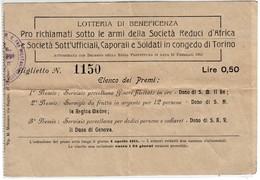 BIGLIETTO LOTTERIA DI BENEFICENZA MILITARI REDUCI D'AFRICA E IN CONGEDO DI TORINO 1915 - Documenti Storici