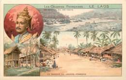 LES COLONIES FRANCAISES LE LAOS CARTE MULTIVUES AVEC PUBLICITE PHOSCAO AU VERSO - Laos