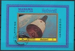 Manama 1972 Bf. 217A Espace Spazio Space Conquista Conquest Sheet Perf. CTO - FDC & Commemorrativi