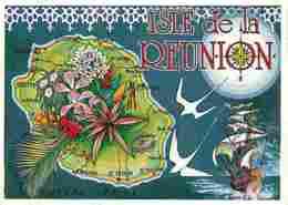Ile De La Réunion - Carte Géographique - Dessin - Voir Scans Recto-Verso - La Réunion