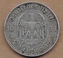 2 Reichsmark Argent 1934 J - 2 Reichsmark