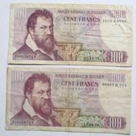 LOT DEUX 2 BILLETS 100 FRANCS LAMBERT LOMBARD H. DECUYPER 1969 & 1971 BANQUE NATIONALE DE BELGIQUE - [ 2] 1831-... : Royaume De Belgique