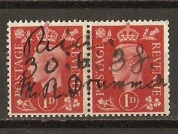 Grande-Bretagne 1938 - George VI 1d - YT 210 - Paire Se Tenant - Belle Annulation Manuelle Pour Usage Fiscal - Marcophilie