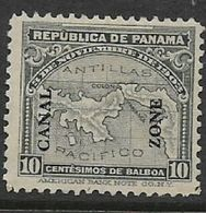Panama, 1914, 10 Cents Map, Opt CANAL ZONE, MH* - Panama