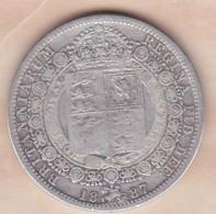Grande-Bretagne Half Crown 1887  Victoria , En Argent - 1816-1901 : Frappes XIX° S.