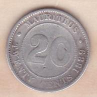 Ile Maurice 20 Cents 1889 H , Victoria , En Argent - Mauritius