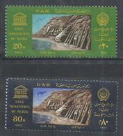 UAR EGYPT EGITTO 1966 UNESCO AIR MAIL POSTA AEREA TRANSFER OF ABU SIMBEL TEMPLE COMPLETE SET SERIE MNH - Egitto