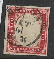 Italy, Sardinia, 40 Cents, Carmine, C.d.s. Used - Sardaigne