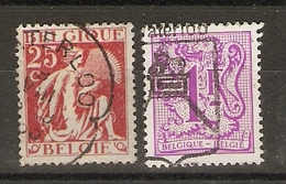 Belgique - 2 Timbres Avec Cachet Et Flamme Waterloo - Ecusson Lion - Cob 339/1850 - Marcophilie