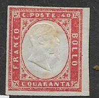 Italy, Sardinia, 1855,40 Cents, Red, MH * - Sardaigne