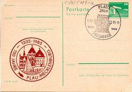 """(FC-8)DDR Amtl.GZS.m.priv.Zudruck""""Palast Der Republik 10Pf.smaragdgrün P84/C117a """"750 Jahre PLAU"""" SSt 12.6.85 - [6] République Démocratique"""