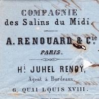 Lettre 1861 Compagnie Des Salins Du Midi Bordeaux Gironde Sel Salt Salz Sale A. Renouard & Cie Périgueux - Marcophilie (Lettres)