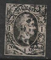 Germany, Saxony, 1851, 1 NGr, Black /rose Used - Saxony