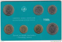 Yugoslavia 1986.Official Coin Set.Mint Set Of National Bank Of Yugoslavia - Yougoslavie