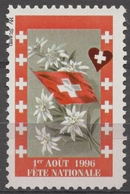 Edelweiss Flower Swiss National Day Flag National Celebration Switzerland LABEL CINDERELLA VIGNETTE 1996 Hungary MNH - Schweiz