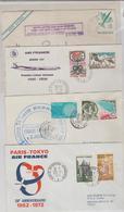 1972 / 73 - VOLS AIR FRANCE Pour N-York, Pékin, Tokio Et D'Argentine / 4 LSC TB - Marcophilie (Lettres)