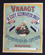 1893 RARE Affiche Tabac à Priser BRUGSCHE SNUIF Bruges Brugge Cigare Tabak Litho Donnez à Bruxelles - Affiches