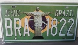 Rare Plaque Tôle BRAZIL 1822 JESUS BRESIL Style EMAIL 15X31cms Vintage RIO De JANEIRO - Motos