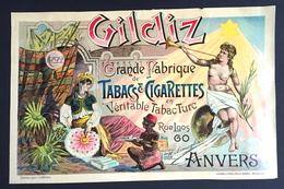 1893 RARE Affiche Tabac Turc Et Cigarette GILDIZ Chromo-litho Donnez à Bruxelles - Affiches